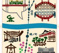 堺チン電の会×にじゆら 手ぬぐい 堺チン電 路線図